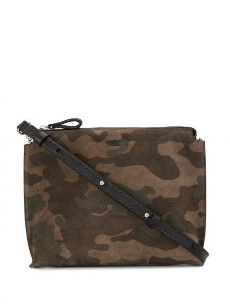 Коричневая кожаная сумка на плечо на молнии с карманами Tomorrowland