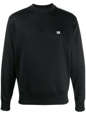 Czarna bluza z haftem z długimi rękawami Ami