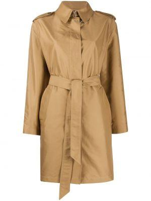 Массивный коричневый длинное пальто с воротником Fay