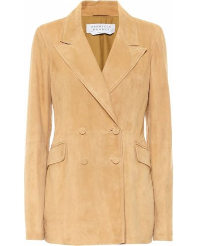 Бежевый кожаный пиджак Gabriela Hearst