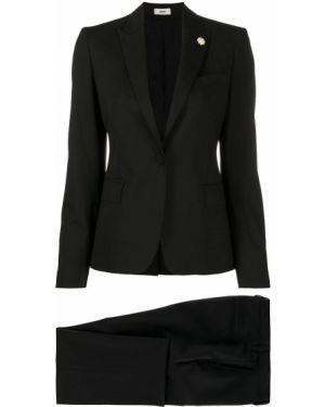 Костюмный шерстяной черный костюм Lardini