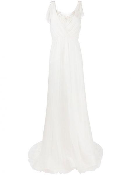 Шелковое кружевное платье макси с вышивкой Alberta Ferretti
