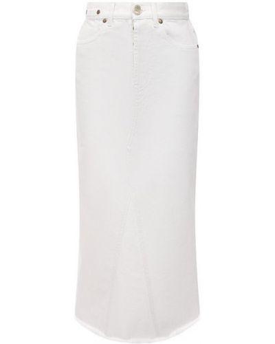 Хлопковая белая джинсовая юбка Erika Cavallini