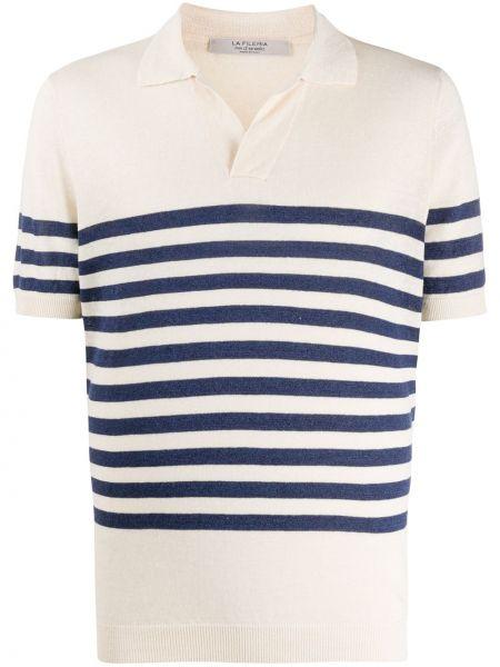 Льняная рубашка с короткими рукавами с воротником с нашивками с манжетами La Fileria For D'aniello