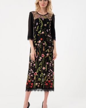 Вечернее платье с цветочным принтом сетчатое Wisell