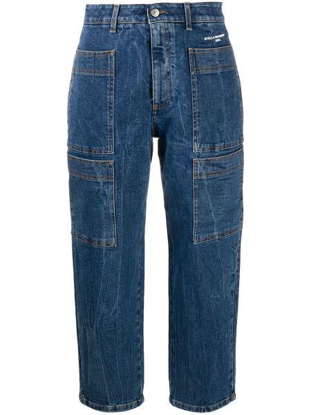 Синие укороченные джинсы с нашивками с карманами на молнии Stella Mccartney