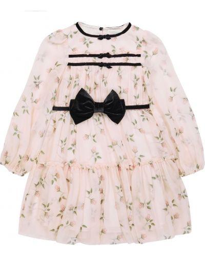 Платье макси длинное - розовое Monnalisa