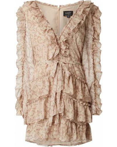 Sukienka rozkloszowana z długimi rękawami - różowa Bardot
