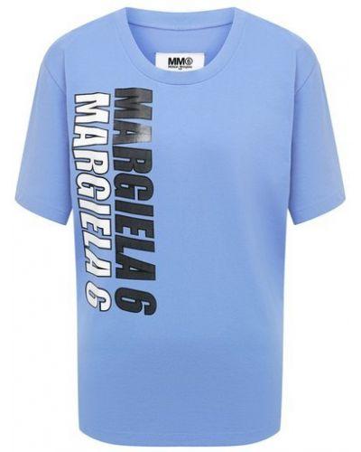 Хлопковая футболка - синяя Mm6
