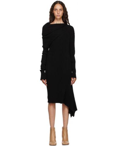 Z rękawami czarny asymetryczny długo sukienka z kołnierzem Marques Almeida