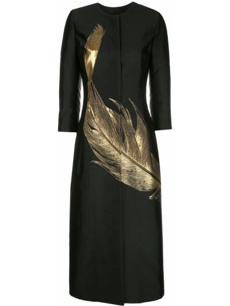 С рукавами черное длинное пальто металлическое со вставками Oscar De La Renta