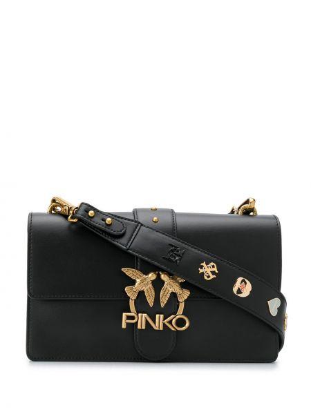 Z paskiem czarny skórzana torebka z prawdziwej skóry Pinko