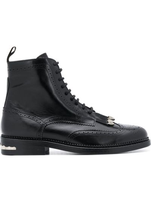 Черные ботинки с перфорацией с бахромой на шнуровке Toga Virilis