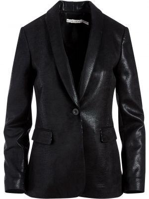 Кожаный черный удлиненный пиджак с длинными рукавами Alice+olivia
