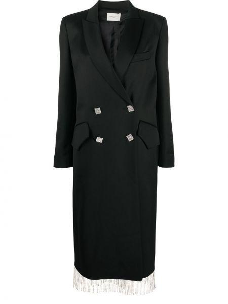 Шерстяное черное длинное пальто двубортное Giuseppe Di Morabito