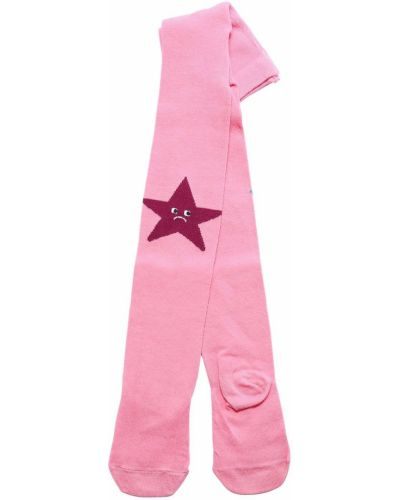 Хлопковые розовые колготки с рисунком Stella Mccartney Kids