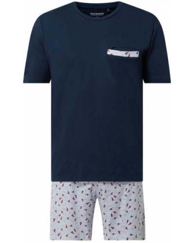 Niebieska piżamy z szortami bawełniana Schiesser