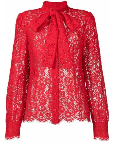 Кружевная красная блузка с бантом Dolce & Gabbana
