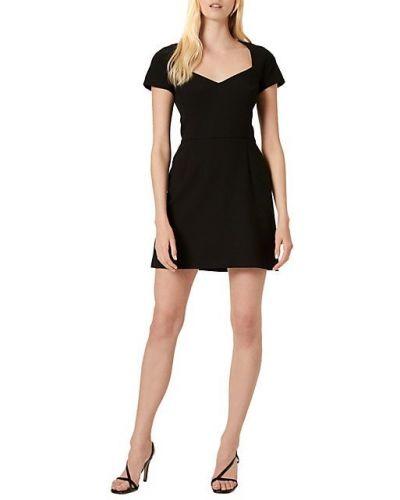 С рукавами черное платье мини с V-образным вырезом French Connection