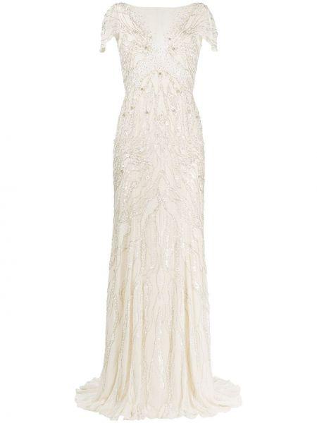 Шелковое с рукавами вечернее платье с пайетками Jenny Packham