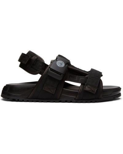 Czarny skórzany sandały na paskach okrągły nos Versace
