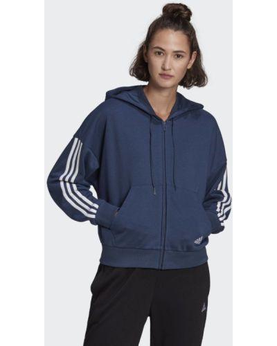 Синяя кофта в полоску Adidas