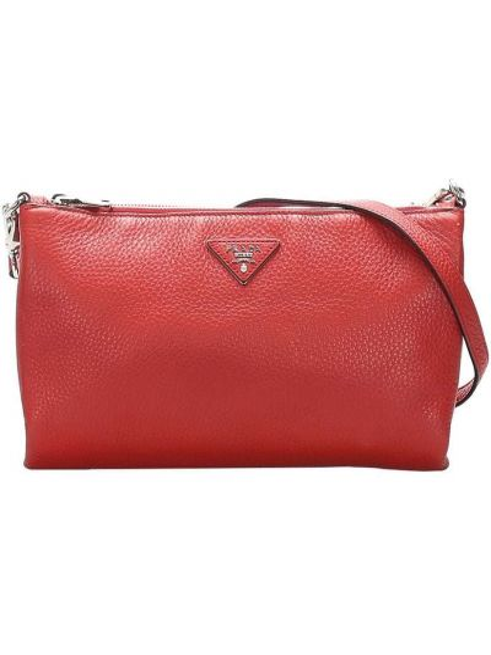 Кожаная красная сумка через плечо на молнии с карманами Prada Pre-owned
