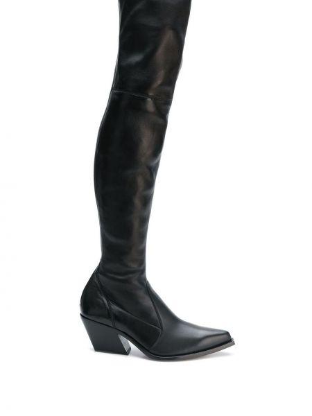 Czarne kozaki na obcasie skorzane Givenchy