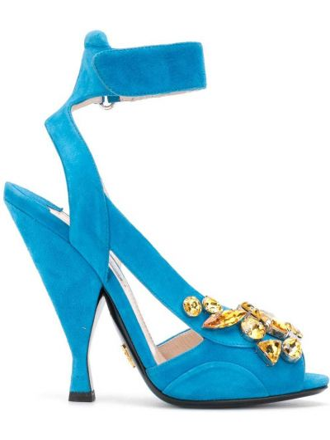 Кожаные синие босоножки с открытым носком Prada Pre-owned