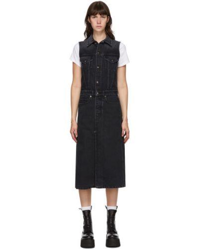 Кожаное джинсовое платье на пуговицах с воротником с карманами R13