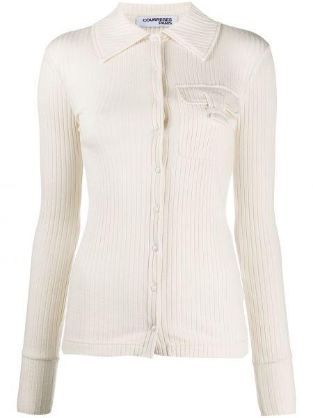 Бежевая рубашка с воротником с карманами с заплатками Courrèges