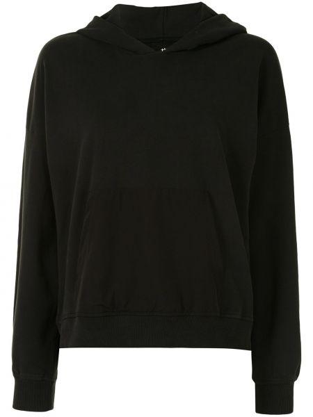 Bawełna czarny pulower z kapturem z długimi rękawami Thom Krom