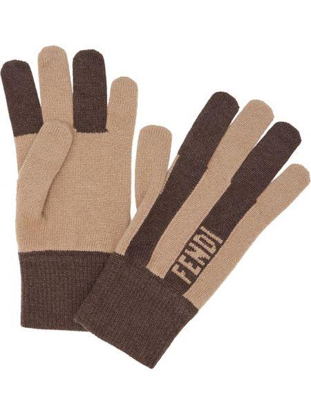 Z kaszmiru rękawiczki - beżowe Fendi