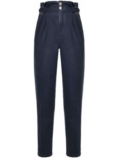 Черные джинсы с высокой посадкой на пуговицах Pinko