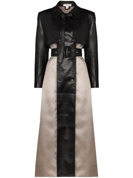 Черное пальто классическое с воротником с карманами Matériel