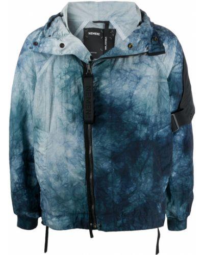 Классическая нейлоновая синяя куртка с капюшоном на молнии Nemen