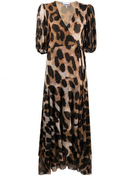 Платье мини миди с запахом Ganni
