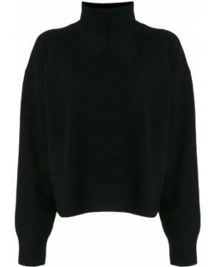Черный свитер со спущенными плечами в рубчик Le Ciel Bleu