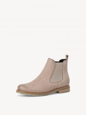Бежевые кожаные ботинки Tamaris