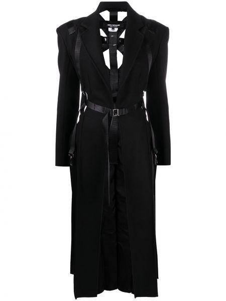 Прямое шерстяное черное длинное пальто Junya Watanabe