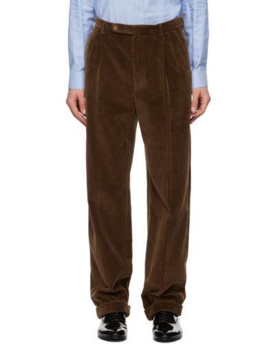Коричневые брюки вельветовые с карманами Gucci