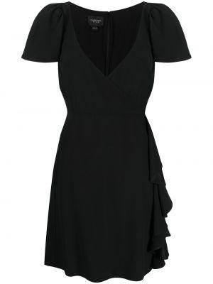 С рукавами шелковое черное платье мини Giambattista Valli