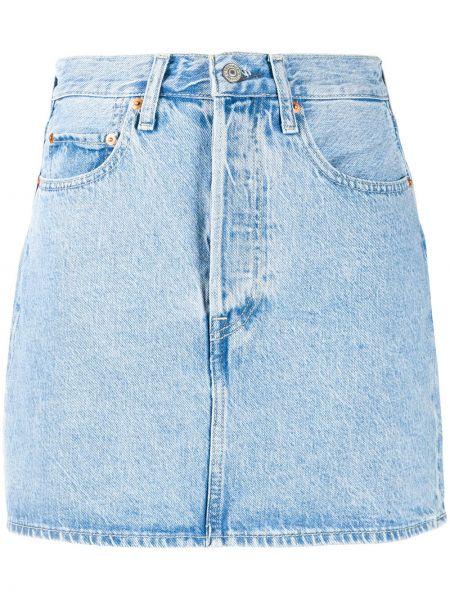 Хлопковая синяя юбка мини с карманами с заплатками Levi's®