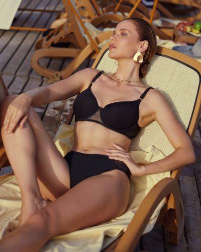 Кожаный черный купальник раздельный с поясом Anabel Arto