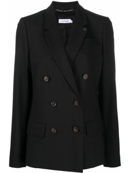Черный удлиненный пиджак двубортный с карманами Calvin Klein