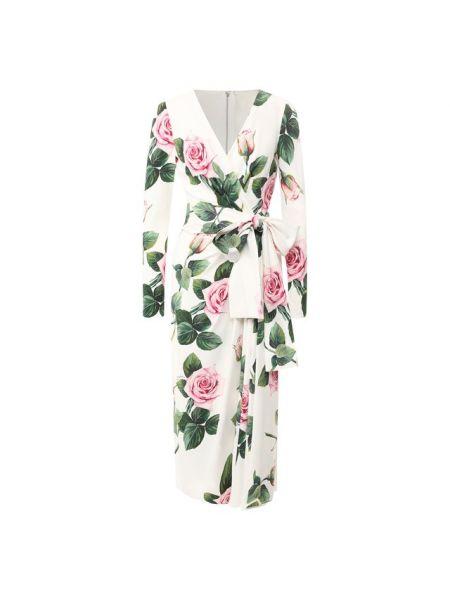 Белое шелковое платье с запахом с рисунком Dolce & Gabbana