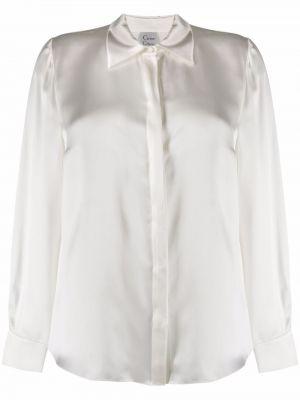 Сатиновая белая рубашка с длинным рукавом с воротником Carine Gilson