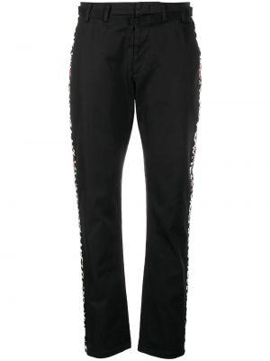 Хлопковые прямые черные брюки с полоской по бокам N°21
