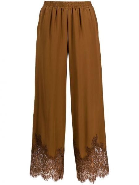 Шелковые прямые коричневые брюки Gold Hawk