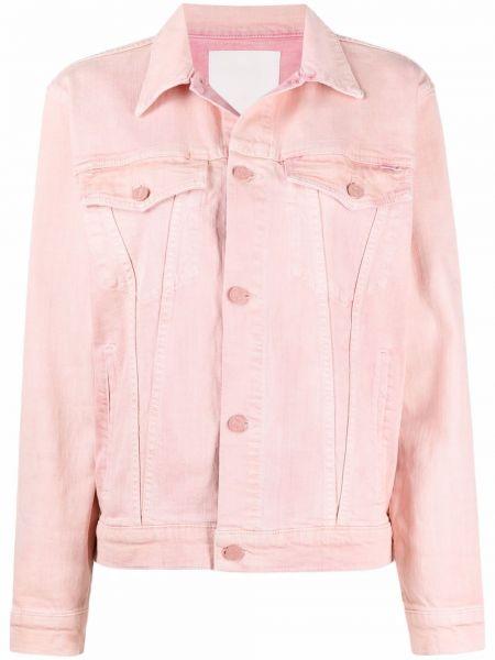Прямая розовая джинсовая куртка с воротником Mother